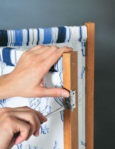 Crie um biombo com tecido e pedaços de madeira - Casa