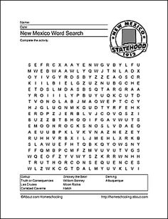 New mexico wordsearch crossword puzzle and more spiritdancerdesigns Images