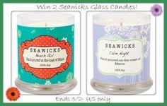 seawicks candle giveaway- 2 - 9 oz glass candels