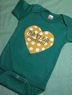 """Baylor Sweetheart"" onesie // #SicEm"