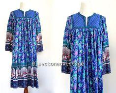 Vintage 70s Indian India Blue Cotton Boho Hippie Gypsy Ethnic Festival Maxi Midi Ethnic Dress . SML . 741.2.19.14