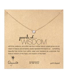 Dogeared Pearls of Wisdom White Pearl Necklace, Gold Dipped 16 inch