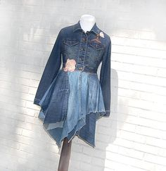 Boho Denim Jacket, Coat, Blue Jean, Long Denim Jacket, Tattered, Eco Earth Friendly, Upcycled Clothing