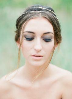 Smoky eye bridal beauty look: http://www.stylemepretty.com/canada-weddings/british-columbia/vancouver/2015/11/06/ethereal-greek-goddess-inspired-wedding-editorial/   Photography: Vasia - http://www.vasia-weddings.com/