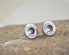 Bullet Earrings Shell Stud Earrings ~ Winchester 45 Colt Bullet Casings Post/Stud Earrings ~ Nickel Plated with Crystal Gems ULTRA THIN