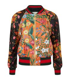 Gucci Printed Silk Bomber Jacket available to buy at Harrods.Shop clothing online and earn Rewards points. Patterned Bomber Jacket, Long Bomber Jacket, Floral Bomber Jacket, Silk Jacket, Striped Jacket, Sweater Jacket, Bomber Jackets, Outerwear Jackets, Print Jacket