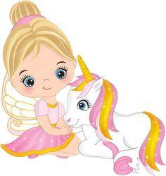 Little Fairy Clipart Vector Fairy Clipart Princess Clipart Fairy Clipart, Chibi Kawaii, Unicorn Pictures, Cute Fairy, Unicorn Art, Cute Illustration, Cute Drawings, Little Girls, Scrapbooking