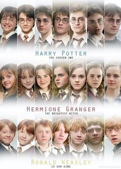 Harry Potter Hermione Granger and Ron Weasley through the years of Hogwarts Estilo Harry Potter, Mundo Harry Potter, Harry Potter Cast, Harry Potter Love, Harry Potter World, Harry Potter Memes, Harry Potter 3rd Movie, Harry Potter Timeline, Harry Potter Uniform