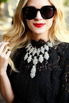 NEEDING to combine black lace w/ a diamond-encrusted statement necklace w/ red lips ASAP.    [Atlantic-Pacific: guest bartender // BaubleBar X BEE]