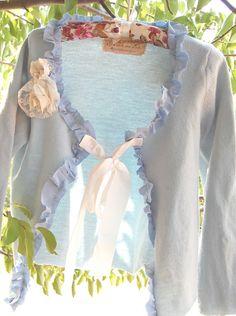 Wool Cardigan Sweater Robins Egg Blue Vintage Altered Clothing Upcycled Eco Shabby Sz S Silk Trim Fairy Boho Gypsy Prairie Garden Cowgirl. $68.50, via Etsy.