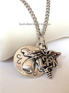 Silver Nurse Angel Caduceus LPN Necklace Pendant Chain Nursing Gift USA Seller #SouthMiamiBeachBoutique #Pendant