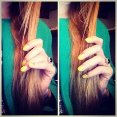Hair nails yellow manicure minx