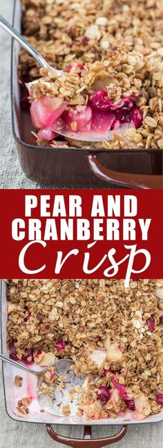 This pear and cranberry crisp is so easy to make and is a crowd pleaser! It's also healthy and vegan!