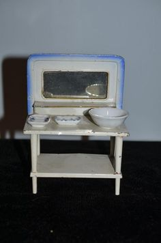 Old Doll Miniature Enamel Tin Vanity W Dresser Set Soap Bowl