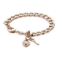 Rosévergoldetes Fossil-Armband Herz-Schloss JF00144791 http://www.thejewellershop.com/ #herz #heart #roségold #steel #fossil #zirkonia #armband #bracelet #jewelry #schmuck
