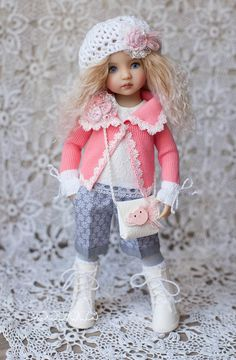 "Outfit for doll 13 "" (Diana Effner little darling). The price includes: shorts with pockets, blouse with lace, jacket, tights, gloves,knitted socks, beret, bag, shoes. #Littledarling #Clothesfordoll #Diana_Effner #outfitfordoll #одеждадлякукол #boosinka"