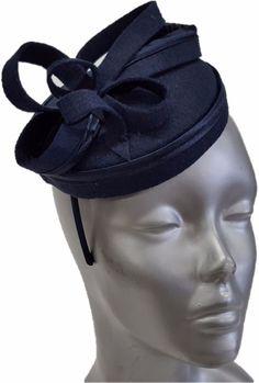 Swan Hat, Derby, Preakness, Church, Dress, Wedding- Ladies Navy  Felt Fascinator #Swan #Fascinator #ChurchDressEverydayKentuckyDerby