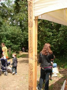 Tent pole bling. Carved decorative poles added to the structural poles.