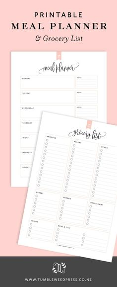 Plan your weekly dinners in style with this Meal Planner & Grocery List Printable from Tumbleweed Press.