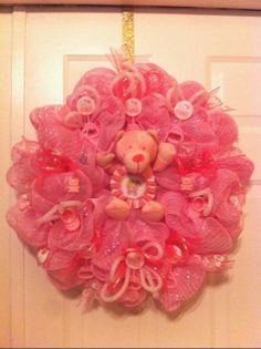 Baby Girl Wreath Nursery Wreath Newborn Wreath by WreathsbyLinda, $55.00