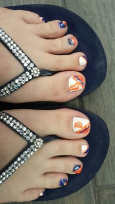 Denver Broncos Pedicure-Nails Go Broncos!! Thanks to Get Polished Nail Salon