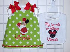 Lime Polka Dot Christmas Minnie Mouse with by thesewprincess