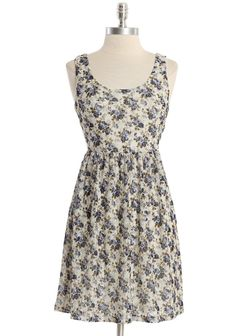 """May Flowers Dress In Blue 36.99 at shopruche.com. A soft floral print in blue adds modern romance to this cream dress with a delicate lace overlay. Completed with an elasticized waist,  a flattering scoop neck, and a hint of stretch.  92% Polyester, 8% Spandex, Made in USA, 33"""" length from top of shoulders"""