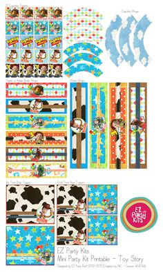 Happy Birthday TOY STORY Printable Mini Party Set by EZPARTYKITS, $20.00