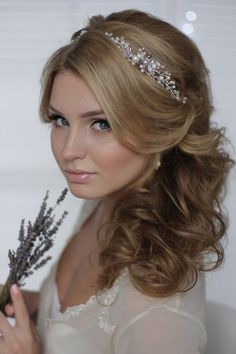 Crystal Decorated Wedding Bridal Hair Vine Bridal Halo Bridal Headband Wedding Tiara Bridal Diadem Bridal Wreath / http://www.deerpearlflowers.com/wedding-hairstyle-with-bridal-headpieces/