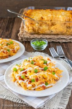 Buffalo Chicken Pasta - spicy buffalo chicken dip and pasta noodles baked together to make a cheesy chicken casserole that everyone will love. Easy recipe for dinner or game days.