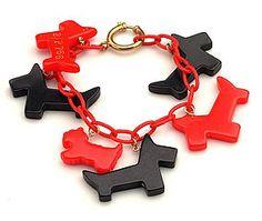 Red and Black Scottie Bakelite Bracelet