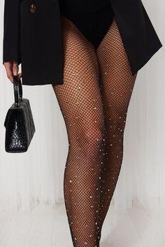 Dress With Stockings, Fishnet Stockings, Fashion Tights, Fashion Outfits, Womens Fashion, Fish Net Tights Outfit, Fish Net Stockings Outfit, Black Stockings Outfit, Black Tights Outfit
