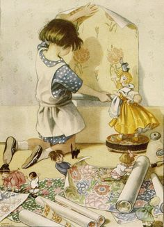 Illustration by Honor Charlotte Appleton English children's illustrator Vintage Children's Books, Vintage Cards, Vintage Postcards, Retro Vintage, Vintage Images, Art And Illustration, Old Illustrations, Jolie Photo, Little Doll