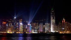 town hong kong night lights reflection HD wallpaper