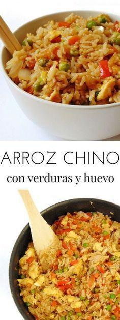 Arroz chino con verduras y huevo Healthy Menu, Healthy Soup Recipes, Real Food Recipes, Vegetarian Recipes, Cooking Recipes, Couscous, Deli Food, Gula, Food Porn