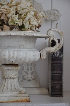 shabby chic by cathyrdg Urn, Country Decor, Decor, Shabby, Shabby Chic, French Country Decorating, White Vintage, Statuary, Urn Planters