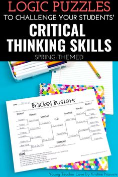Spring Logic Puzzles - Brain Teasers - Critical Thinking - Review important math concepts in your 3rd, 4th, 5th, & 6th grade students with this great download. Work on addition, subtraction, multiplication, division, algebra, & logic and reasoning. You get ten logic games - opening a lockbox, batting order, weather forecasts, basketball brackets, and more. Great for the third, fourth, fifth, or sixth graders. #Spring #SpringActivities #SpringMath #KristineNannini Math Puzzles Brain Teasers, Math Logic Puzzles, Logic Games, Critical Thinking Activities, Critical Thinking Skills, 5th Grade Classroom, Middle School Classroom, Batting Order, Brain Games