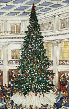 Marshall Fields Christmas Tree Mark McMahon Artist @Linda Bruinenberg Rowland under the tree in the Walnut Room-an annual tradition.