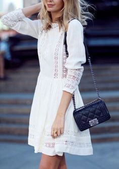Looking for more white fashion & street style ideas? Check out my board: Blanc Street Style by Street Style // Fashion // Spring Outfit - Merry Danamere - Chanel Street Style, Looks Street Style, Fashion Mode, Star Fashion, Look Fashion, Dress Fashion, White Fashion, Paris Fashion, Fashion Clothes