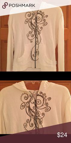 Moosejaw PrAna zip up Moosejaw PrAna cotton zip up in slightly off white and tan details in large Prana Tops Sweatshirts & Hoodies