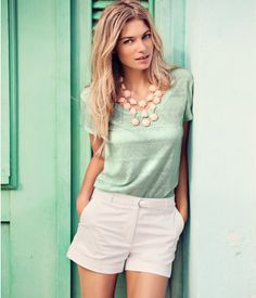 pastels: peachy necklace, mint shirt, white shorts