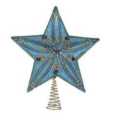 Kurt Adler 13.5-inch Teal,Green,Blue Glitter Star Treetop
