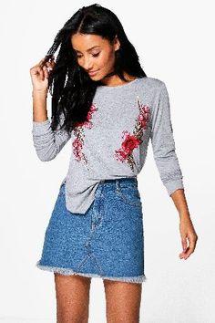 #boohoo Long Sleeve Embroidered T-Shirt - grey marl #Alexia Long Sleeve Embroidered T-Shirt - grey marl