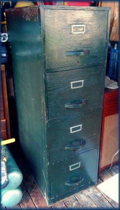 UNIQUE Antique Wood Bankers Vintage DOUBLE Railroad File Storage ...