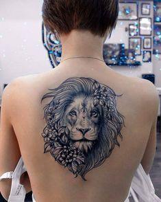 Znalezione obrazy dla zapytania lion back tattoo women