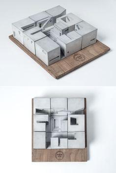 Concrete architectural model Miniature Concrete Homes (Complete Set) by Material…