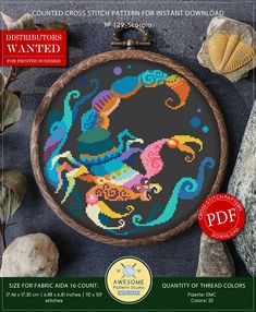 This is modern cross-stitch pattern of Scorpio Zodiac for instant download. You will get 7-pages PDF file, which includes: - main picture for your reference; - colorful scheme for cross-stitch; - list of DMC thread colors (instruction and key section); - list of calculated