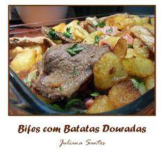 bifes com batatas douradas
