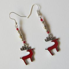 Christmas Red Stag Earrings £4.50