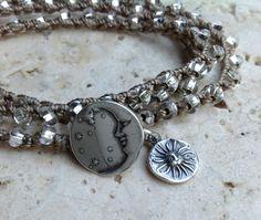 MOON, STARS, SUN 3x crochet Wrap Bracelet, Bohemian jewelry, boho chic, Czech silver lined glass beads, Stacker bracelet, Sterling moon